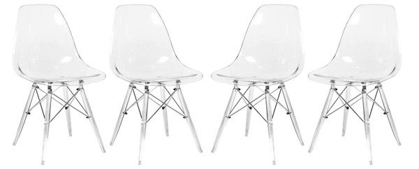 Design Edge Deniliquin 4  Clear Molded Acrylic Base Side Chairs DE-22368392