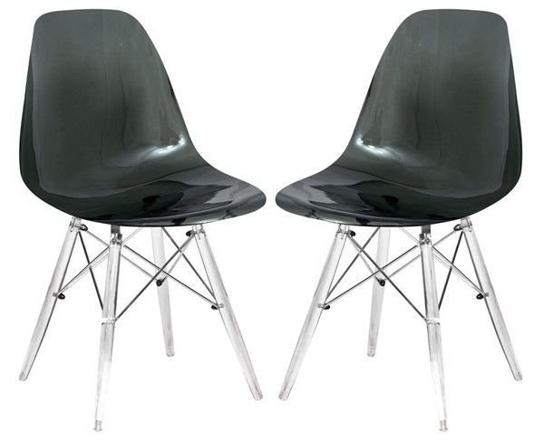 2 LeisureMod Dover Transparent Black Molded Acrylic Base Side Chairs LSM-EPC19TBL2