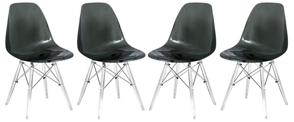 4 LeisureMod Dover Transparent Black Molded Acrylic Base Side Chairs LSM-EPC19TBL4