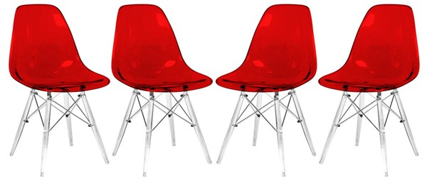 Design Edge Deniliquin 4  Transparent Red Molded Acrylic Base Side Chairs DE-22819742