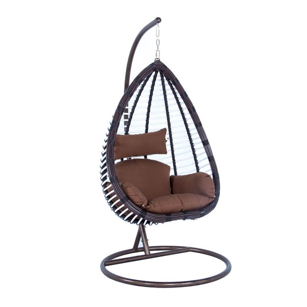 LeisureMod Egg Brown Wicker Hanging Swing Chair LSM-ESC38BR