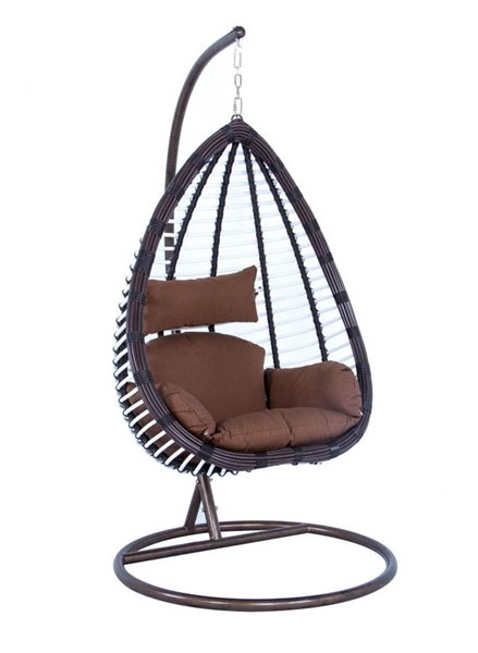 Design Edge Park  Brown Wicker Hanging Swing Chair DE-23417023