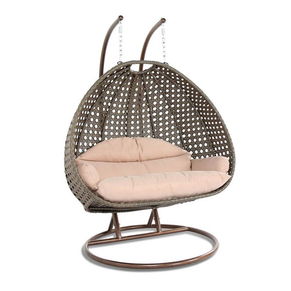 LeisureMod Egg Beige Wicker Hanging Swing Chair LSM-ESC57BG