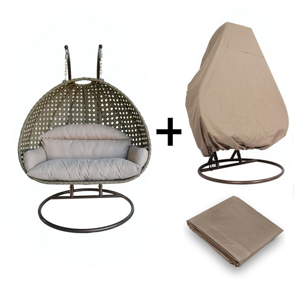 LeisureMod Egg Beige 2 Person Hanging Swing Chair with Outdoor Cover LSM-ESC57BG-C