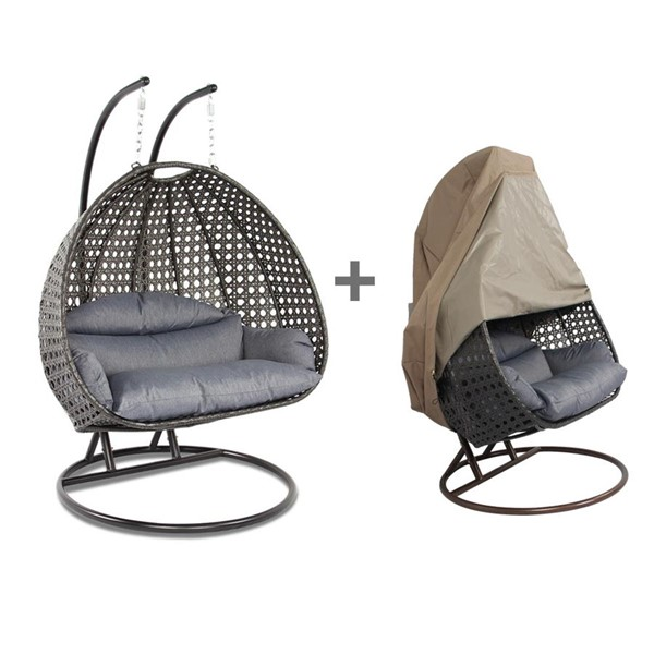 LeisureMod Egg Charcoal Blue 2 Person Hanging Swing Chair with Outdoor Cover LSM-ESC57CBU-C