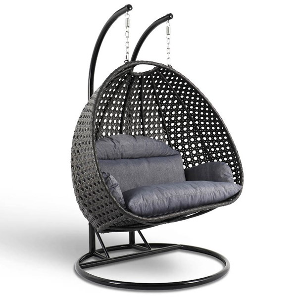 LeisureMod Egg Charcoal Blue Wicker Hanging Swing Chair LSM-ESC57CBU