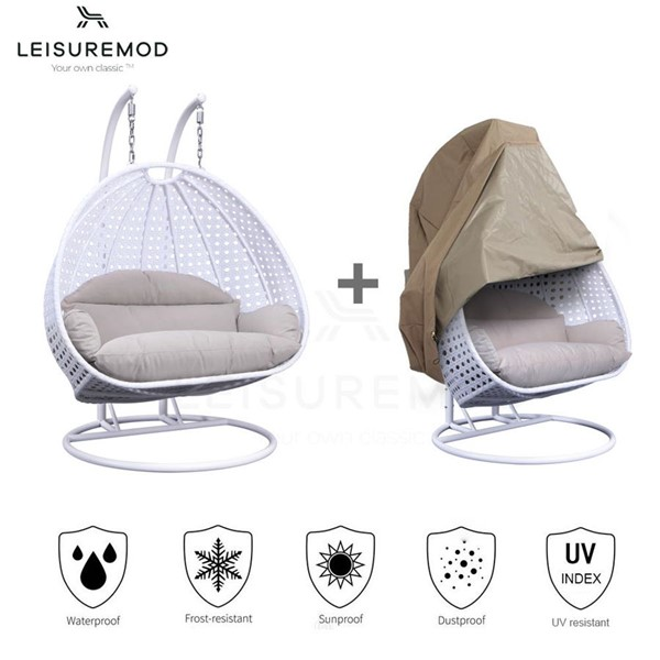 LeisureMod Egg White Beige 2 Person Hanging Swing Chair with Outdoor Cover LSM-ESC57WBG-C