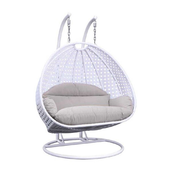 LeisureMod Egg White Beige Wicker Hanging Swing Chair LSM-ESC57WBG