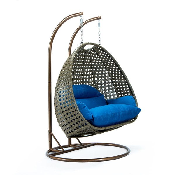 LeisureMod Egg Wicker Blue 2 Person Hanging Swing Chair LSM-ESCBG-57BU
