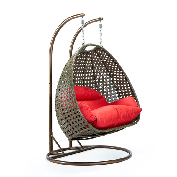 LeisureMod Egg Wicker Red 2 Person Hanging Swing Chair LSM-ESCBG-57R