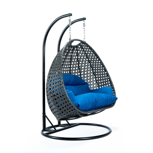LeisureMod Egg Blue Fabric 2 Person Hanging Swing Chair LSM-ESCCH-57BU