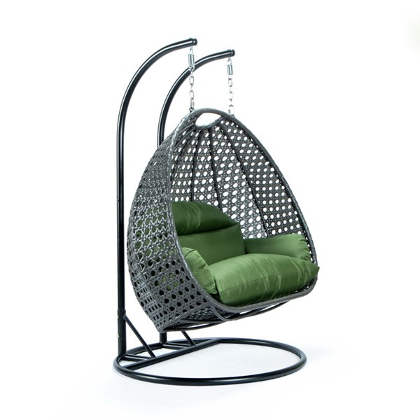 LeisureMod Egg Dark Green Fabric 2 Person Hanging Swing Chair LSM-ESCCH-57DG