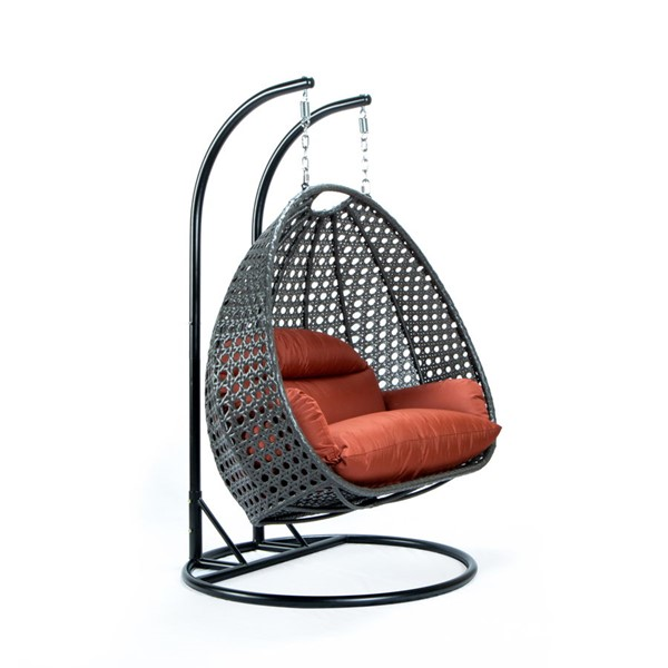 LeisureMod Egg Dark Orange Fabric 2 Person Hanging Swing Chair LSM-ESCCH-57DOR
