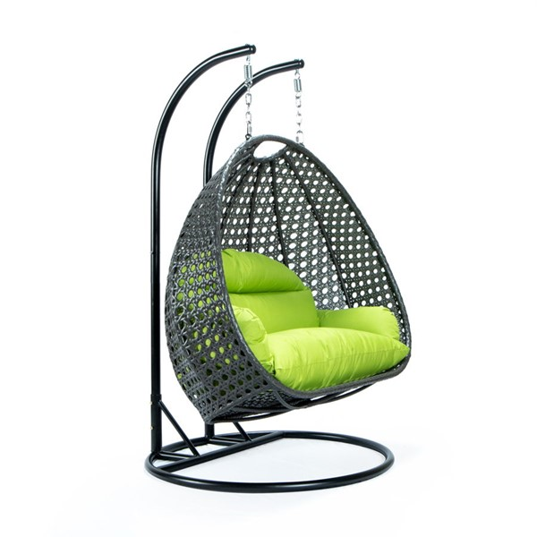 LeisureMod Egg Light Green Fabric 2 Person Hanging Swing Chair LSM-ESCCH-57LG