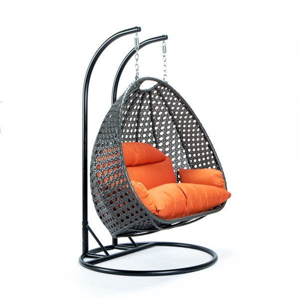 LeisureMod Egg Orange Fabric 2 Person Hanging Swing Chair LSM-ESCCH-57OR