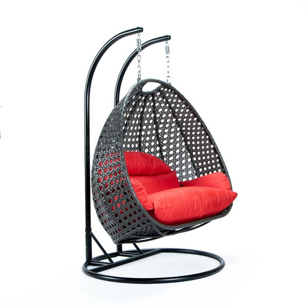 LeisureMod Egg Red Fabric 2 Person Hanging Swing Chair LSM-ESCCH-57R