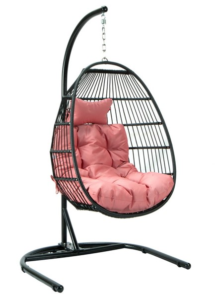 LeisureMod Egg Pink Fabric Folding Hanging Swing Chair LSM-ESCF40PK