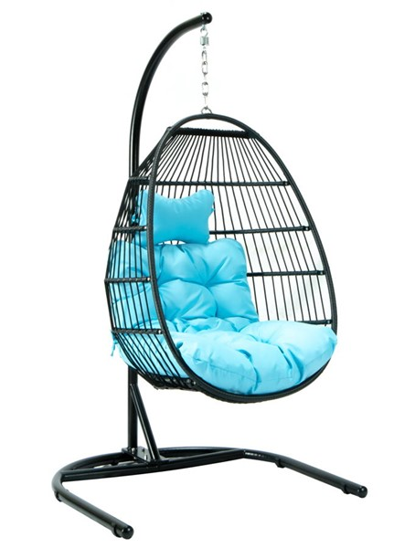 LeisureMod Egg Teal Fabric Folding Hanging Swing Chair LSM-ESCF40TL