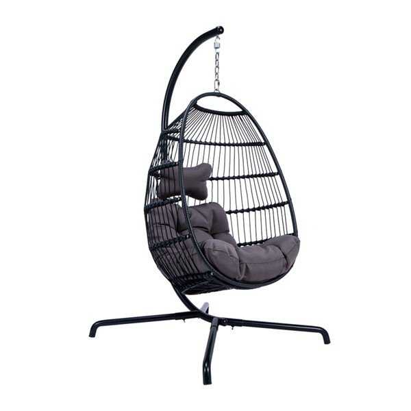 LeisureMod Egg Charcoal Wicker Folding Hanging Swing Chair LSM-ESCF43CH
