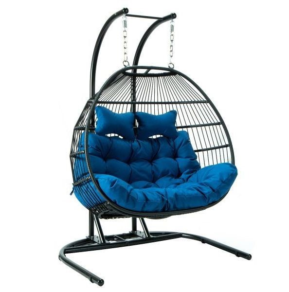 LeisureMod Egg Fabric 2 Person Double Folding Hanging Swing Chairs LSM-ESCF52-OUTDOOR-CH-VAR
