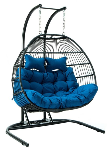 LeisureMod Egg Blue Fabric 2 Person Double Folding Hanging Swing Chair LSM-ESCF52BU