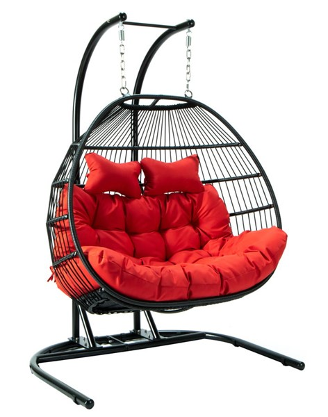 LeisureMod Egg Red Fabric 2 Person Double Folding Hanging Swing Chair LSM-ESCF52R