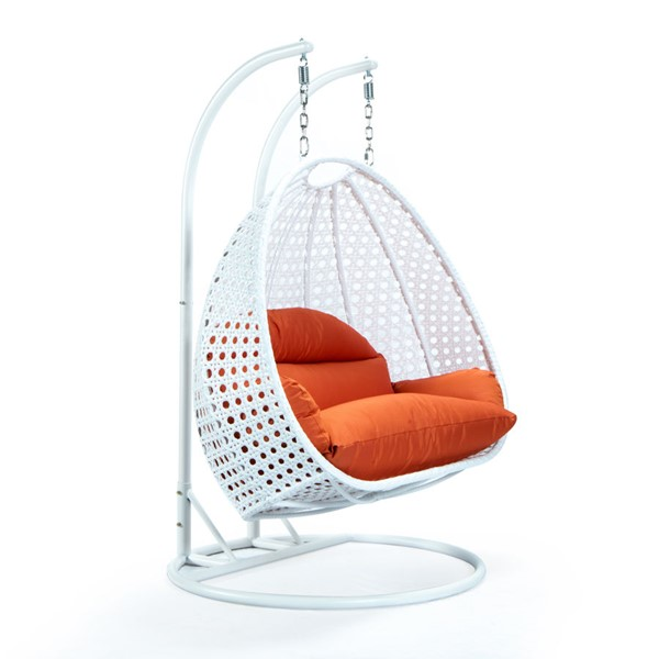 LeisureMod Egg Metal Orange 2 Person Hanging Swing Chair LSM-ESCW-57OR