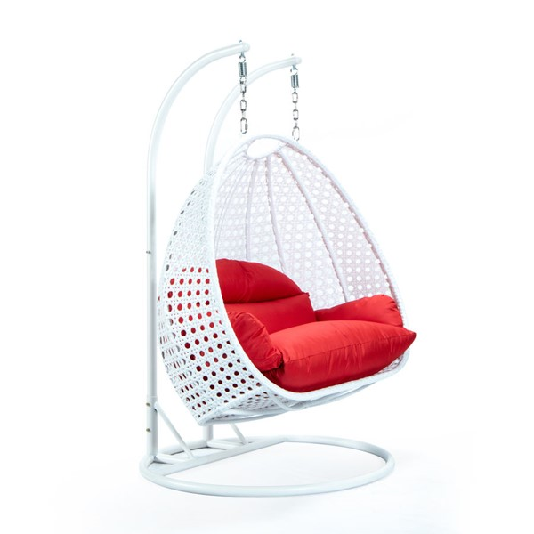 LeisureMod Egg Metal Red 2 Person Hanging Swing Chair LSM-ESCW-57R