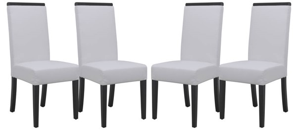 4 LeisureMod Elroy White Faux Leather Dining Chairs LSM-EV17WL4
