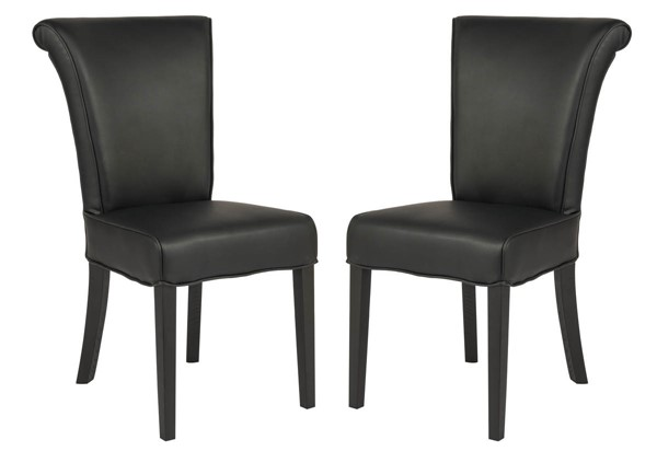 2 LeisureMod Eden Black Faux Leather Dining Chairs LSM-EV18BLL2
