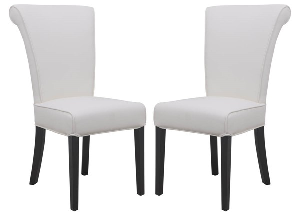 Design Edge Dorrigo 2  White Faux Leather Dining Chairs DE-22368533