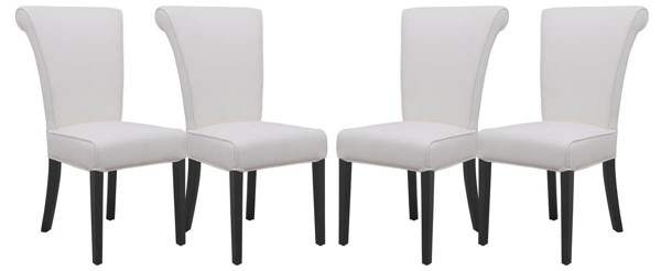 Design Edge Dorrigo 4  White Faux Leather Dining Chairs DE-22819883