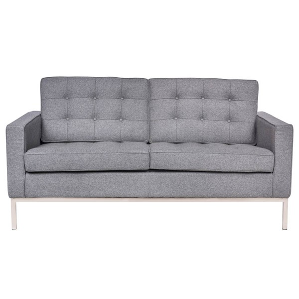 Design Edge Euston  Light Grey Fabric Loveseat DE-22368981