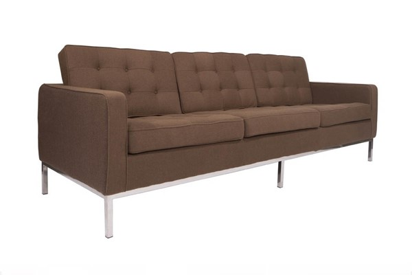 LeisureMod Florence Chocolate Brown Fabric Sofa LSM-FS90BRW