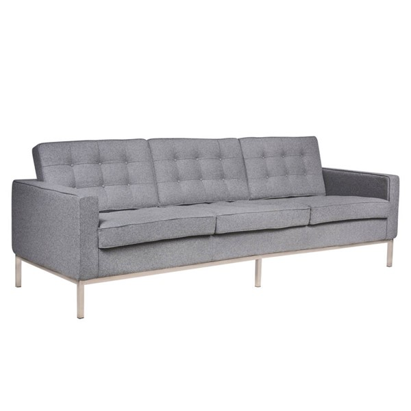 LeisureMod Florence Light Grey Fabric Sofa LSM-FS90LGRW