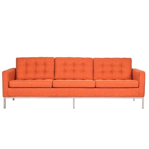 LeisureMod Florence Orange Fabric Sofa LSM-FS90ORTW
