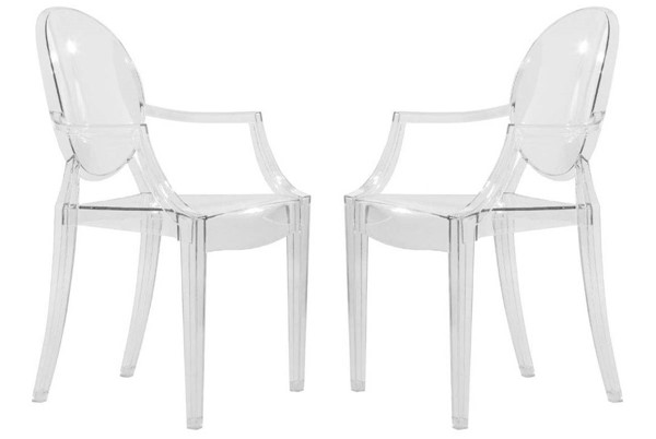 2 LeisureMod Carrol Clear Acrylic Chairs LSM-GC22CL2