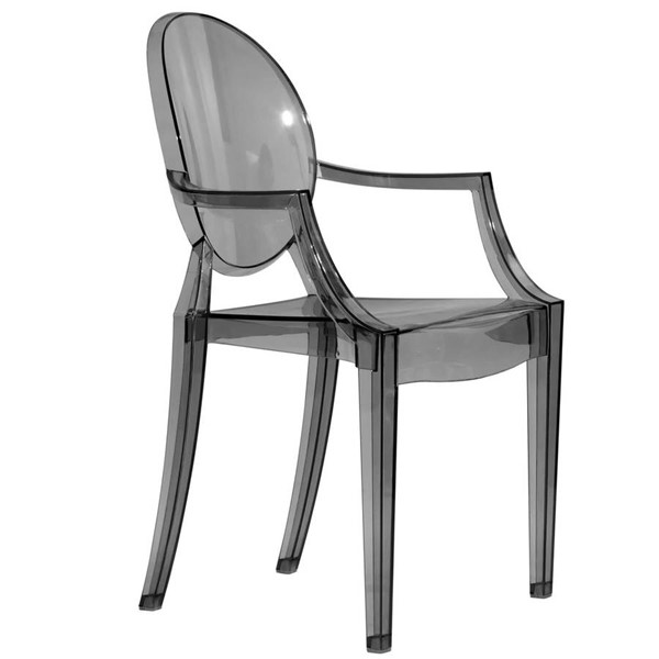 LeisureMod Carroll Black Transparent Acrylic Chair LSM-GC22TBL