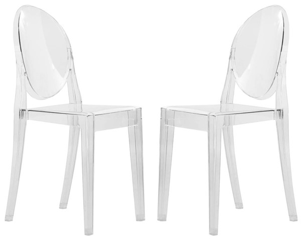 2 LeisureMod Marion Clear Transparent Acrylic Modern Chairs LSM-GV19CL2
