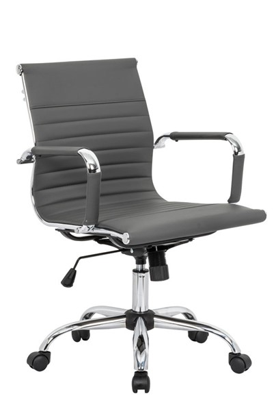 LeisureMod Harris Grey Leatherette Office Chair LSM-HO19GRL