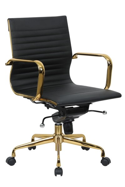 LeisureMod Harris Black Leatherette Gold Frame Office Chair LSM-HOG19BLL