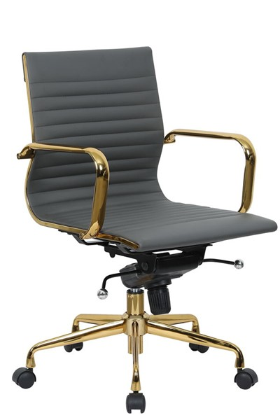 LeisureMod Harris Grey Leatherette Gold Frame Office Chair LSM-HOG19GRL