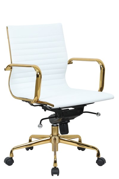 Design Edge Faulconbridge  White Leatherette Gold Frame Office Chair DE-22994730