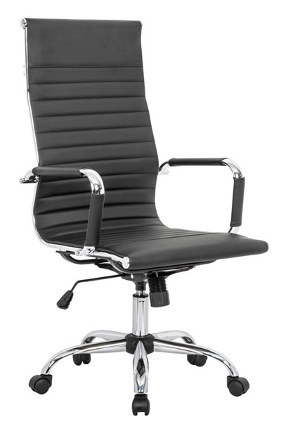 Design Edge Faulconbridge  Black Leatherette High Back Office Chair DE-22994650