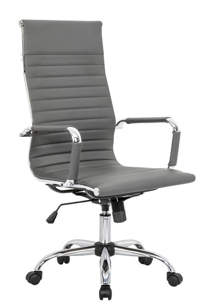 LeisureMod Harris Grey Leatherette High Back Office Chair LSM-HOT19GRL