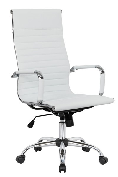 LeisureMod Harris White Leatherette High Back Office Chair LSM-HOT19WL