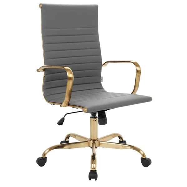 LeisureMod Harris Grey Leatherette Office Chair LSM-HOTG19GRL