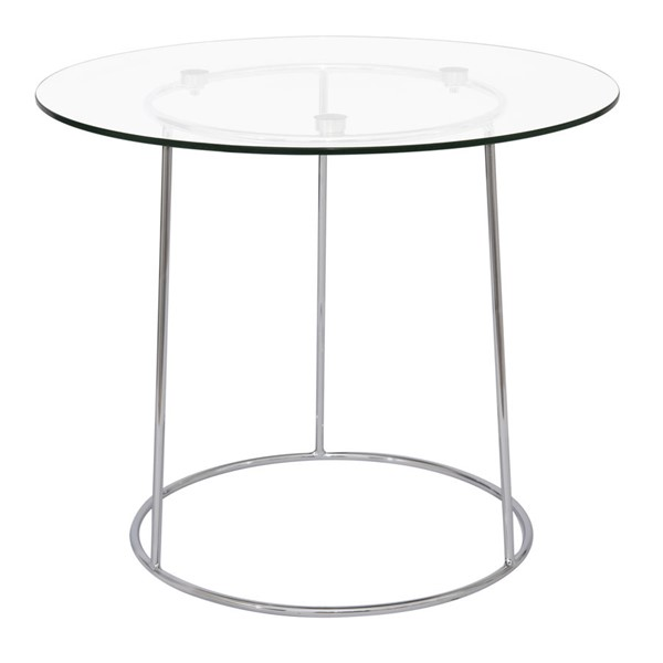 LeisureMod Jackson Clear Round Glass End Table LSM-JT19CL