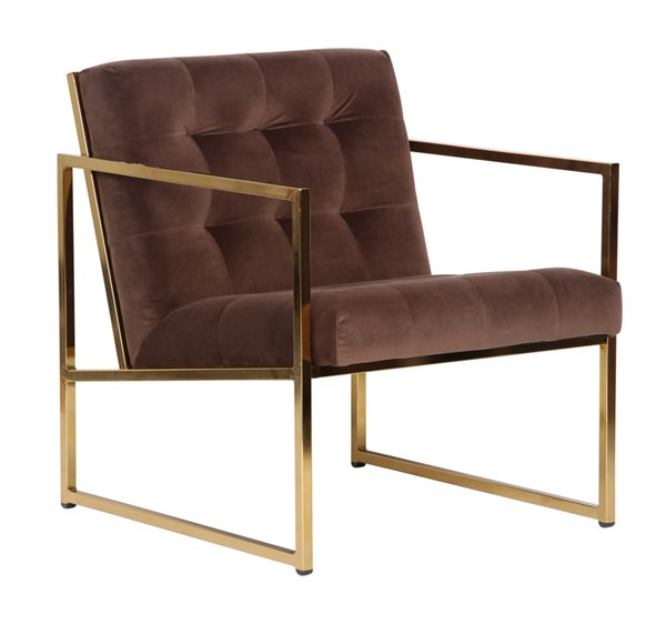 LeisureMod Lexington Coffee Brown Velvet Accent Armchair With Gold Frame LSM-LA18BR