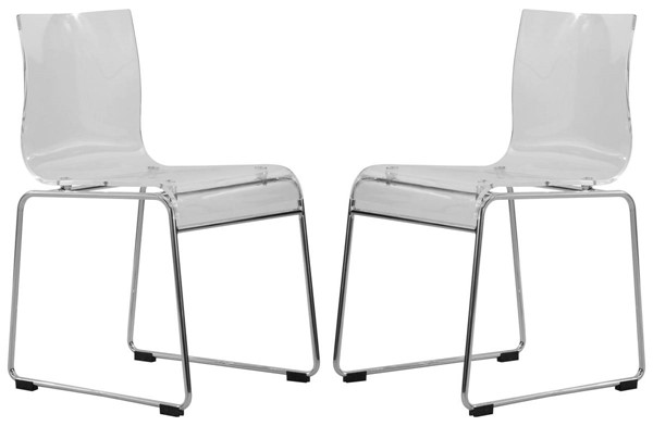 2 LeisureMod Lima Clear Acrylic Chairs LSM-LC19CL2